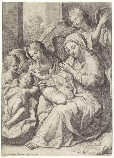 Maria en het slapende Christuskind omgeven door engelen