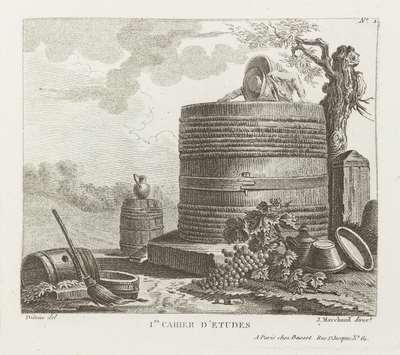 Wijnpers, druiventrossen en ander landbouwgereedschap; Premier Cahier D'Etudes