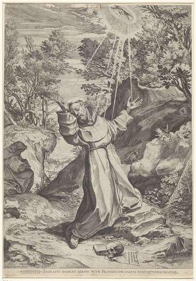 De heilige Franciscus ontvangt de stigmata; Signasto domine serum tuum Franciscum signis redemptionis nostrae