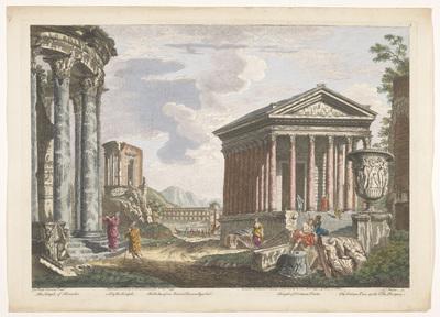 Gezicht op de ruïnes van de Tempel van Hercules Invictus, de Tempel van Portunus en andere monumenten te Rome; Romeinse oudheid