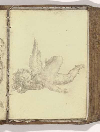 """gevleugelde Putto; Schetsboek """"A.S.Fe"""", 1587, blad 11r(12)"""