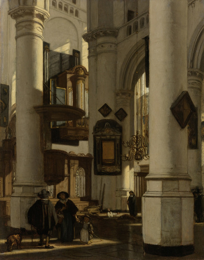 Image from object titled Interior of a Protestant, Gothic Church, with a Gravedigger in the Choir