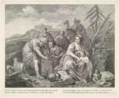 Laban doorzoekt de bezittingen van Jakob en Rachel; Voorstellingen naar schilderijen van Amigoni