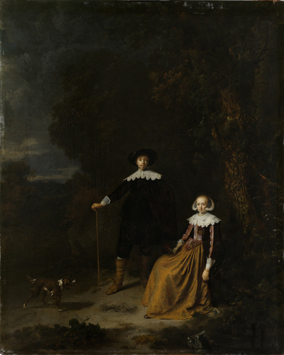 Image from object titled Portrait of a Couple in a Landscape; Portrait of a couple, thought to be Adriaen Wittert van der Aa and Maria Knotter