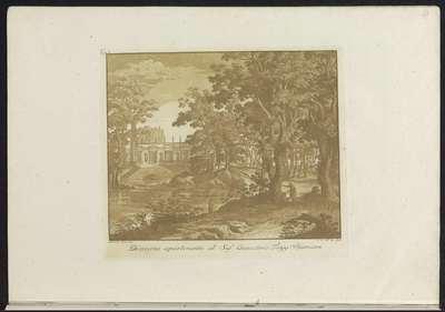 Landschap met water en Romeinse bouwwerk op de achtergrond; Raccolta di dissegni originali di Mauro Tesi