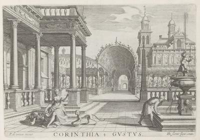 Portaal van een gebouw met Korinthische zuilen en het zintuig smaak; Corinthia Gustus; De vijf zintuigen; Architectura
