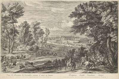 Gezicht op het kasteel van Versailles