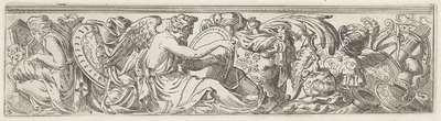 Fries met de personificatie van Geschiedenis op een rond tablet schrijvend tussen wapens; Figuren tussen wapens en vazen