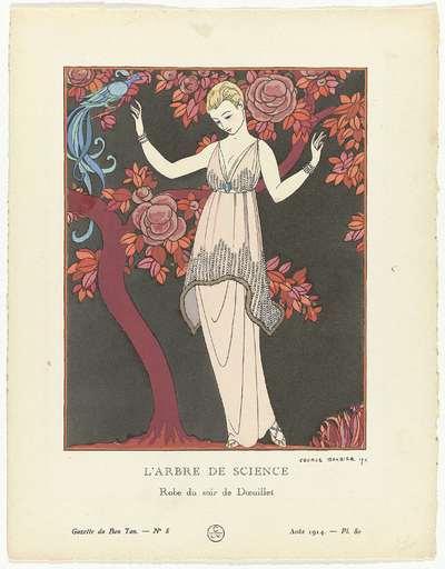 Gazette du Bon Ton 1914, No. 8, Pl. 80: L'Arbre de science /Robe du soir de Doeuillet