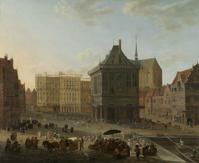 Image from object titled The Dam in Amsterdam with the new Town Hall under Construction