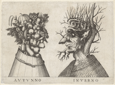 Herfst en Winter verbeeld door groteske koppen; Autunno / Inverno