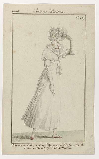 Journal des Dames et des Modes, Costume Parisien, 15 mai 1808, (892): Chapeau de Paill (...)