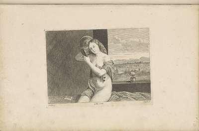 Zittende naakte vrouw met spiegel