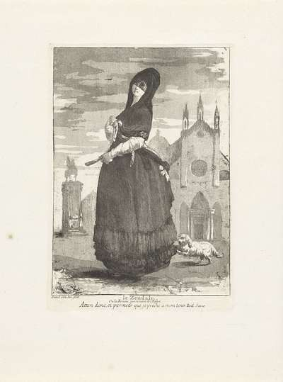 Vrouw met zendale voor een kerk; Le Zendale, ou la Femme qui revient de l'Eglise; Divers portraits