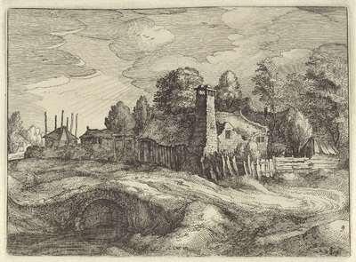 Gezicht op een dorp; Hollandse landschappen; Amaeniores Aliquot Regiunculae