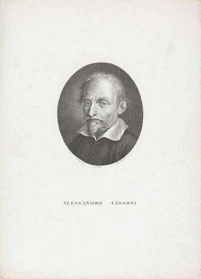 Portret van schrijver en dichter Alessandro Tassoni; Portretten van beroemde Italianen in ovalen