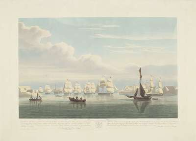 Vertrek van twaalf Nederlandse koopvaardijschepen uit de haven van Portsmouth, 1833 (plaat 1); Dit stel van drie platen voorstellende het vetrek uit de Haven van Portsmouth op den 2.d Juny 1833 van 12 Nederlandsche Koopvaardy Scheepen uit uit Embargo ontslagen (...) / This Series of three prints representing the departure from Portsmouth (...) | Havell, Robert (II)