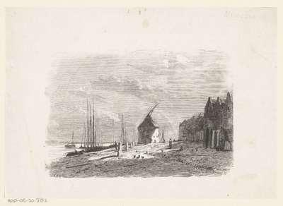 Strandgezicht met huizen aan het water en schepen