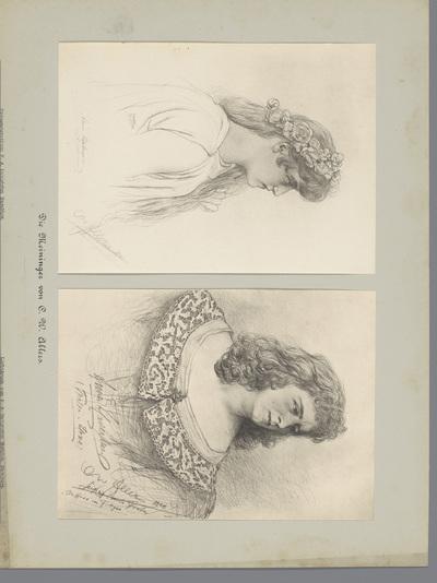 Twee fotoreproducties van tekeningen, voorstellende twee actrices in kostuum; Die Meininger von C. W. Allers
