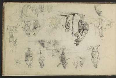 Studieblad, onder andere met een jager, paard en figuren naar Victor Adam