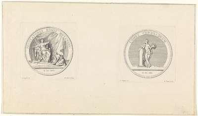 Franse penningen met een allegorische voorstelling