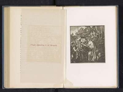 Fotoreproductie van een schilderij, voorstellende Maria verschijnt aan de heilige Bernardus van Clairvaux