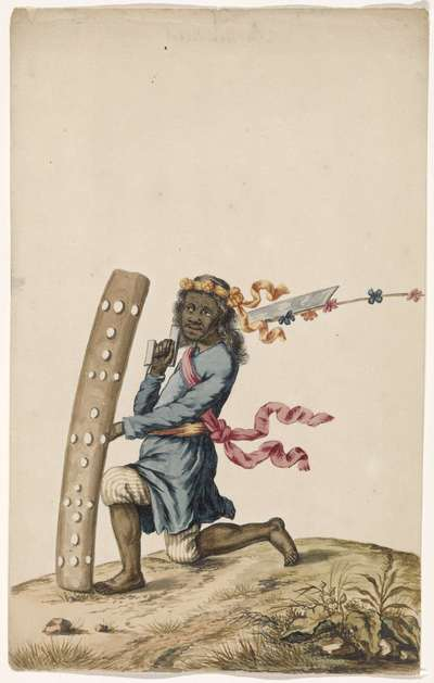 Ambonese dansende krijger in blauw gewaad