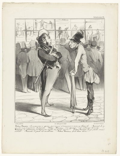 Robert-Macaire in gesprek met Bertrand voor de etalage van een prenthandel; Caricaturana