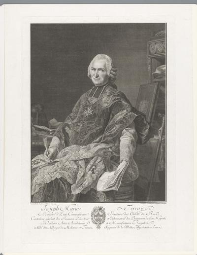 Portret van Joseph Marie Terray aan een bureau met een pen en brief in zijn hand