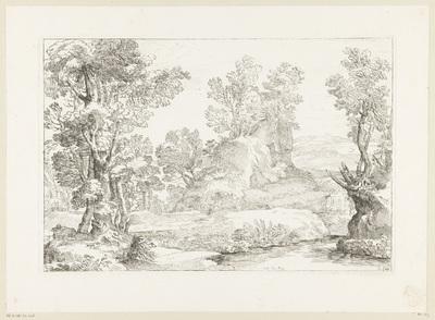Boslandschap met een beek en een rots waarop bomen; Cabinet du Roy