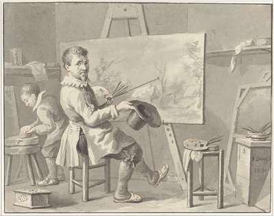 Portret van Joost Corneliszn. Droochsloot in zijn atelier zittende achter een ezel met landschap