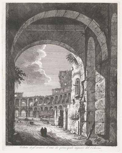 Het Colosseum te Rome; Vaduta degl' avanzi d' uno de' principali ingressi del Colosseo