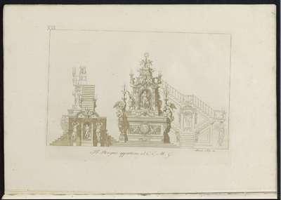Verschillende aanzichten op een altaar; Raccolta di dissegni originali di Mauro Tesi