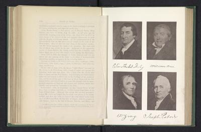 Fotoreproducties van een portretten van Elias Hasket Derby, William Gray, William Orne en Joseph Peabody; Elias Hasket Derby William Orne W Gray Joseph Peabody
