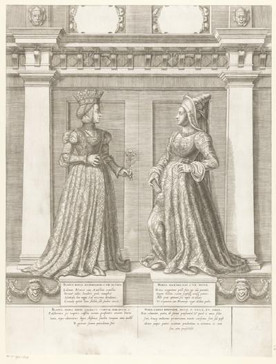 Dubbelportret van Bianca Maria Sforza en Maria van Bourgondië; Portretten van leden van het Oostenrijkse Huis; Austriacae gentis imaginum