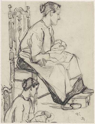 Twee studies van een zittende vrouw met baby