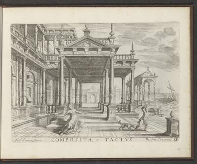 Portaal van een gebouw met Composiete zuilen en het zintuig gevoel; Composita Tactus; De vijf zintuigen; Architectura