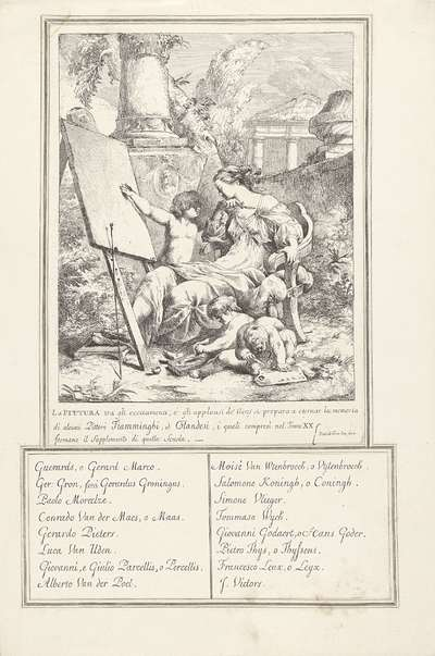 Titelprent met een allegorie op de schilderkunst
