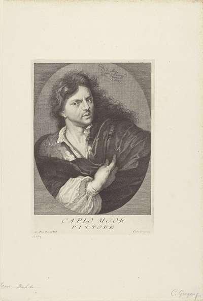 Portret van kunstenaar Carel de Moor; Portretten van kunstenaars