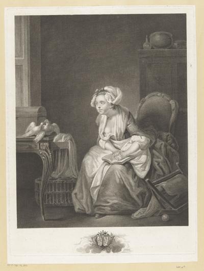 Interieur met een jonge vrouw, zittend op een stoel, kijkend naar twee duiven op een bureau; Les premieres leçons de l'amour