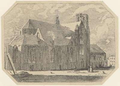 Gezicht op een kerk met een plein