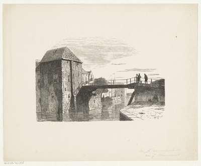 Stadsgezicht met figuren op een brug