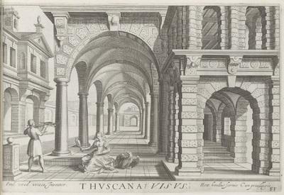 Zuilengang met zuilen van de Toscaanse orde en het zintuig zicht; Thuscana Visus; Architectura
