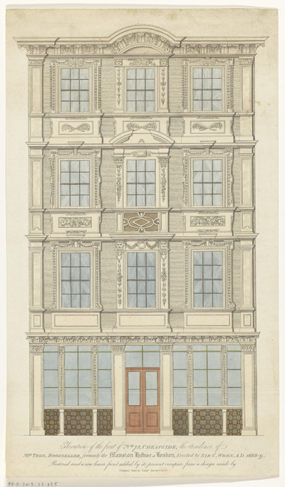 Gevel van het winkel van Thomas Tegg te Londen; Elevation of the front of No. 73, Cheapside, the Residence of Mr. Tegg, bookseller, formerly the Mansion House of London
