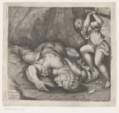 David onthoofdt Goliat; Scènes naar fresco's door Pordenone in de Santo Stefano te Venetië