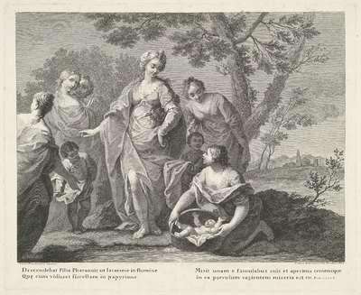 Mozes wordt gevonden door de dochter van de farao; Voorstellingen naar schilderijen van Amigoni