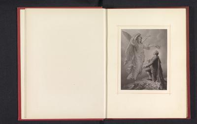 Fotoreproductie van een tekening, voorstellende Johann Wolfgang von Goethe wordt gelauwerd door zijn muze