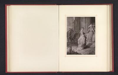 Fotoreproductie van een tekening, voorstellende Gretchen onderweg naar de kerk