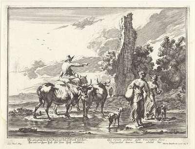 Herder en herderinnen in een voorde