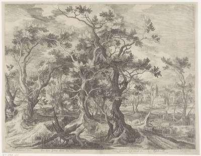 Landschap met de dood van de ongehoorzame godsman; Ecce leena Vorat divinohaud numire plemun (...); Royaalbijbel
